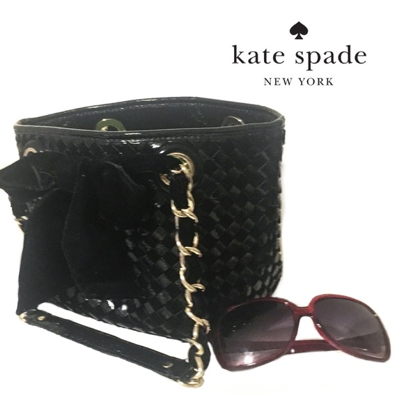 3ca6aa85837 KATE SPADE Patent Leather Velvet Bow Tie Bag